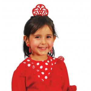 Peineta, Collar y Pendientes Andaluza Infantiles Rojos