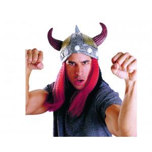 Sombrero Vikingo con Pelo Rojo